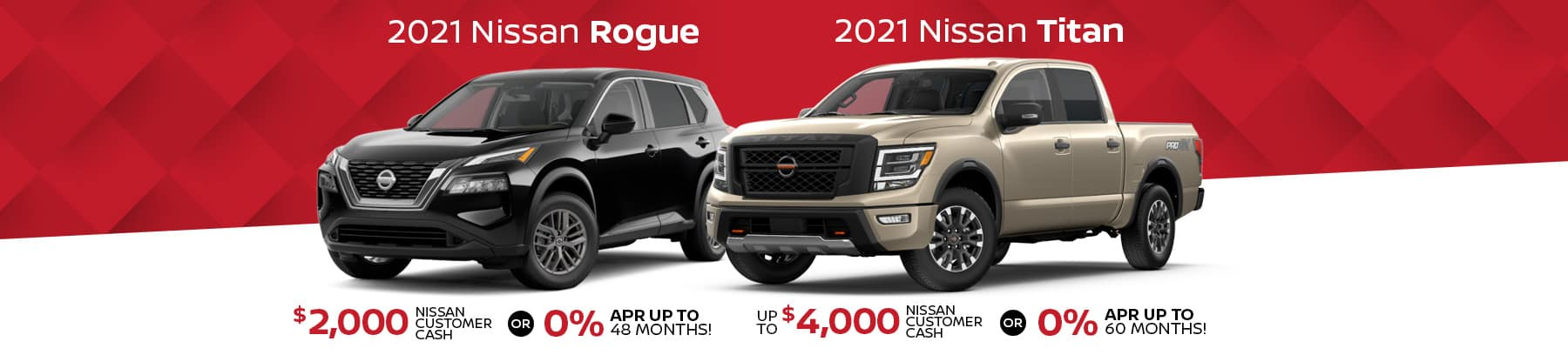 2021 Nissan Rogue and Titan Offers