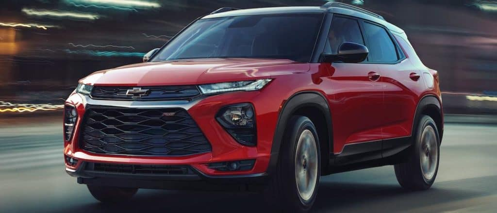 A red 2021 Chevy Trailblazer in a tunnel at night, from your favorite Chevy Dealership Waco.