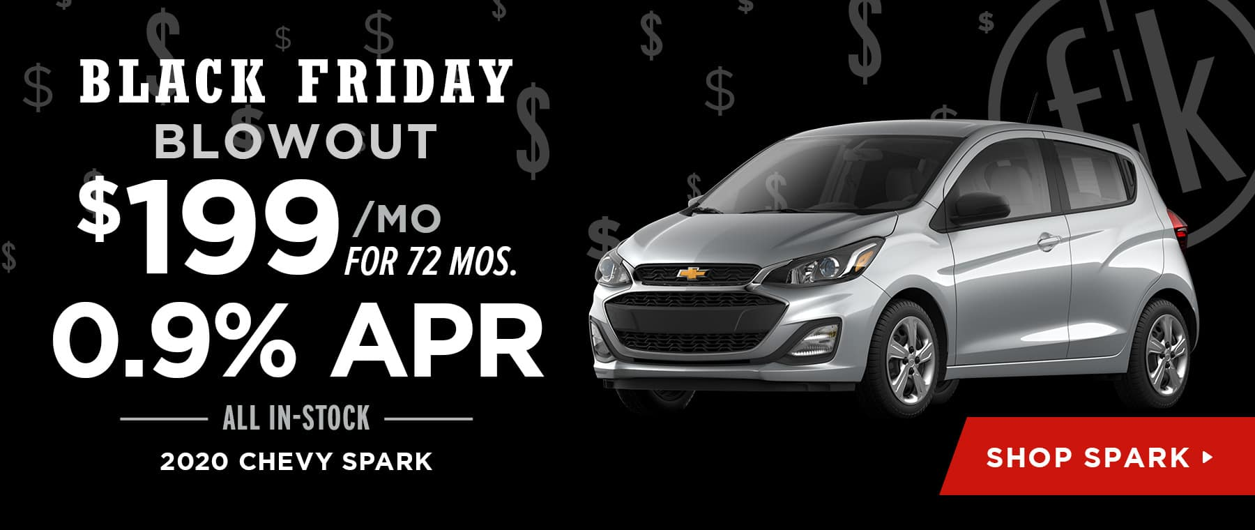 $199/mo. for 72 mos. & 0.9% APR All In-Stock 2020 Chevy Spark