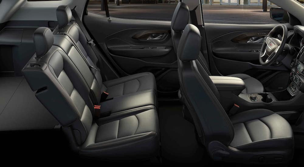 The black interior is shown on a 2021 GMC Terrain SLE.