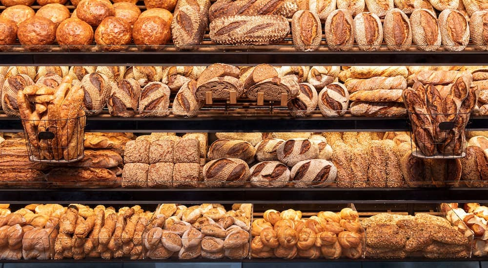 A display of baked goods is shown.