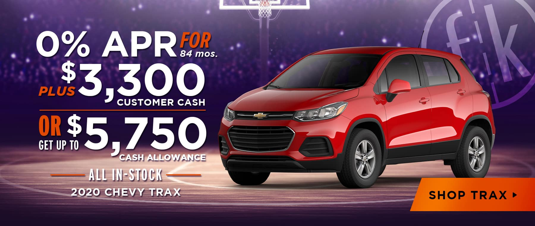 2020 Trax 0% for 84 mos + $3,300 Customer Cash OR Up To $5,750 Cash Allowance
