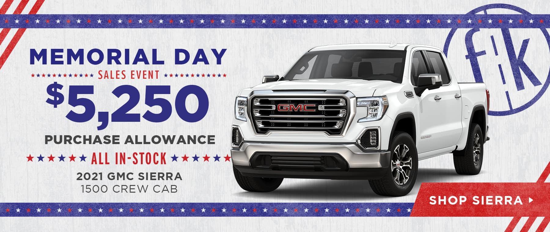 $5,250 Purchase Allowance All In-Stock 2021 GMC Sierra 1500 Crew Cab