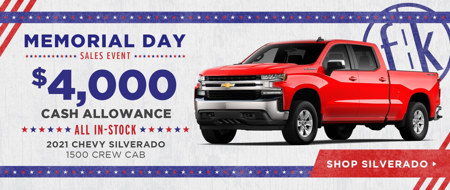 $4,000 Cash Allowance All In-Stock 2021 Chevy Silverado 1500 Crew Cab