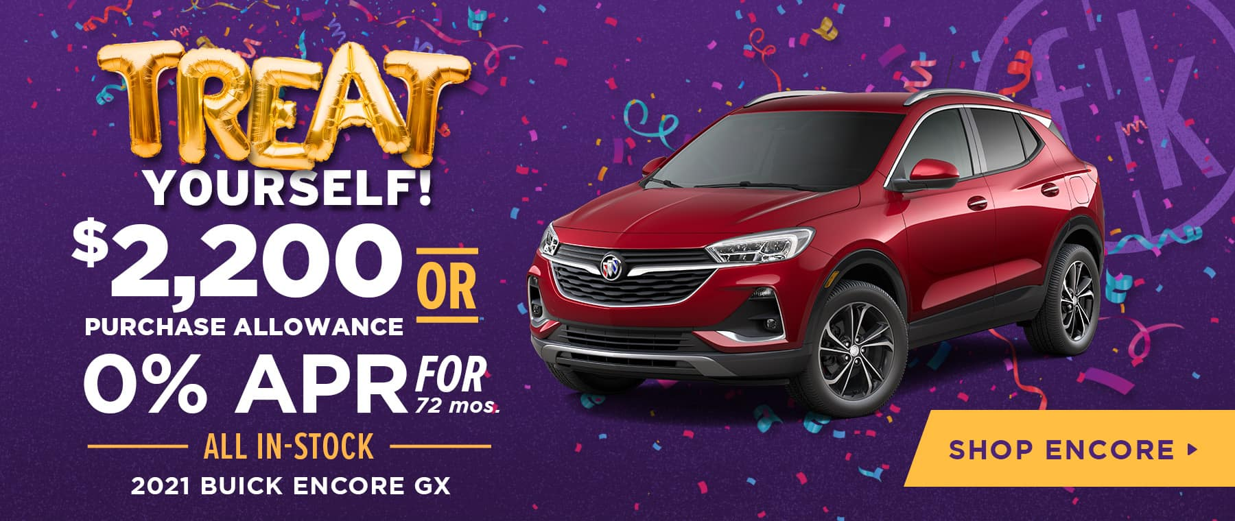 $2,200 Purchase Allowance OR 0% for 72 mos All In-Stock 2021 Buick Encore GX