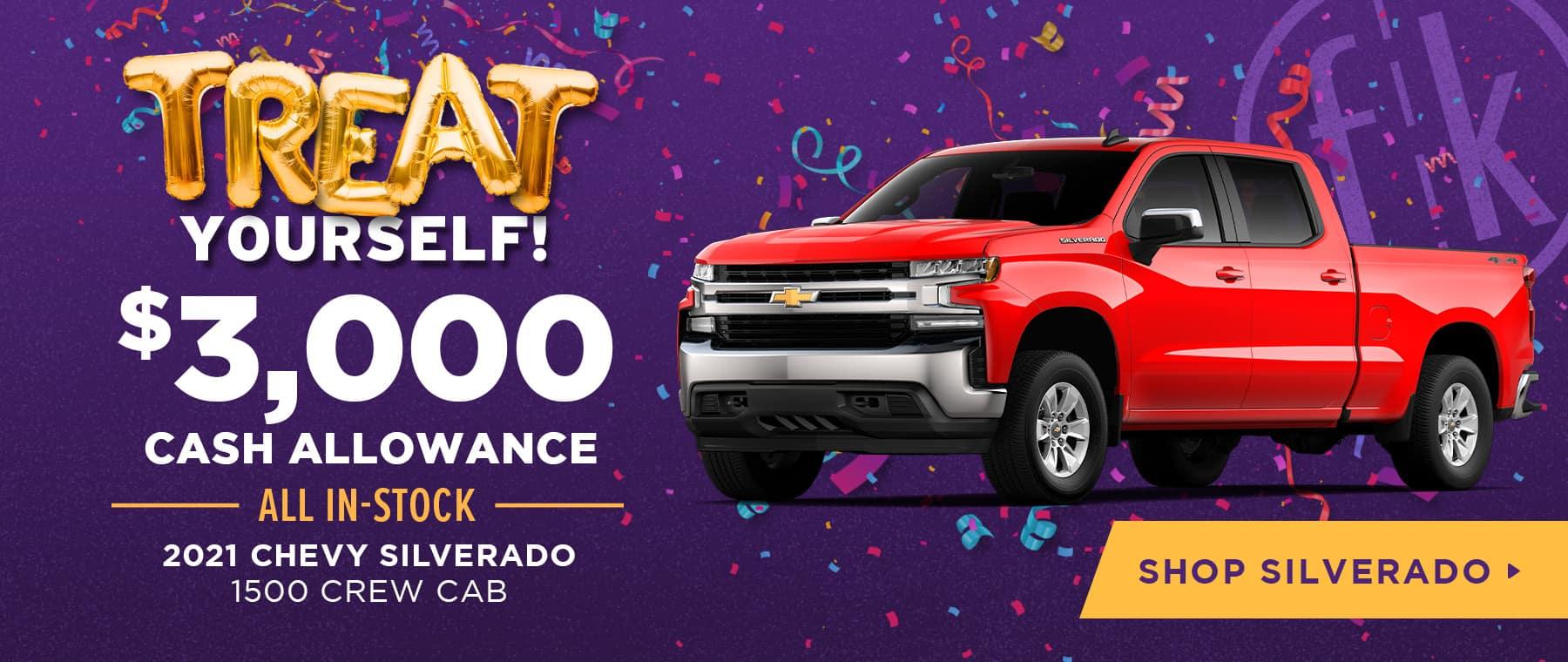 $3,000 Cash Allowance All In-Stock 2021 Chevy Silverado 1500 Crew Cab