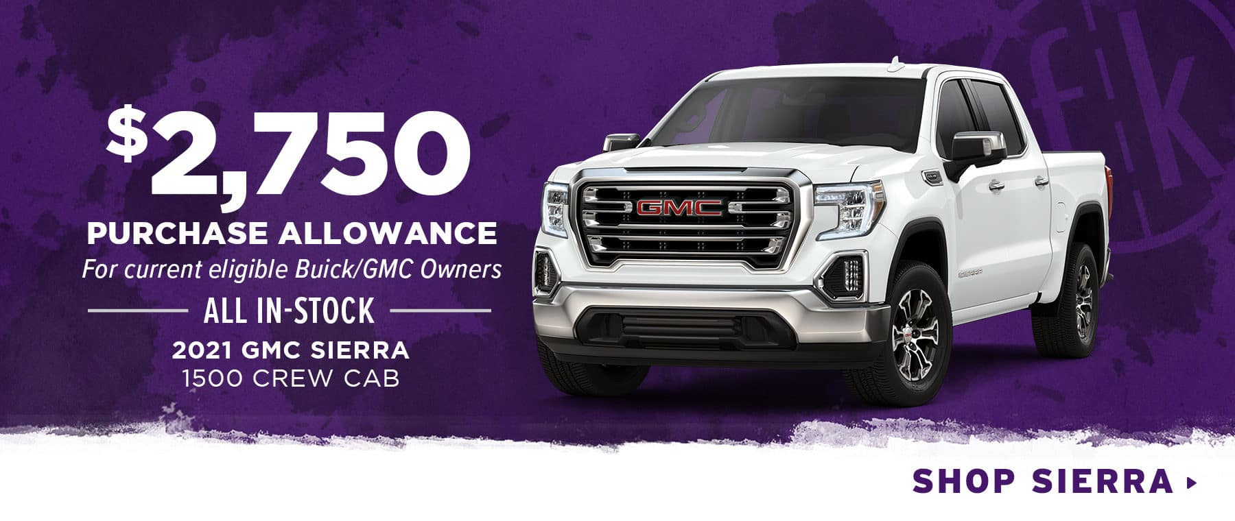$2,750 Purchase Allowance For Current Eligible Buick/GMC Owners All In-Stock 2021 GMC Sierra 1500 Crew Cab