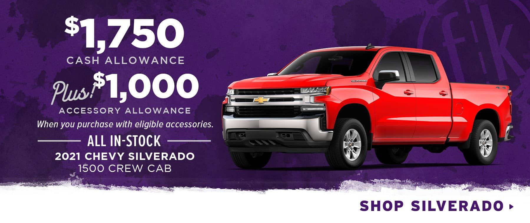 $1,750 Cash Allowance PLUS $1,000 Accessory Allowance All In-Stock 2021 Chevy Silverado 1500 Crew Cab