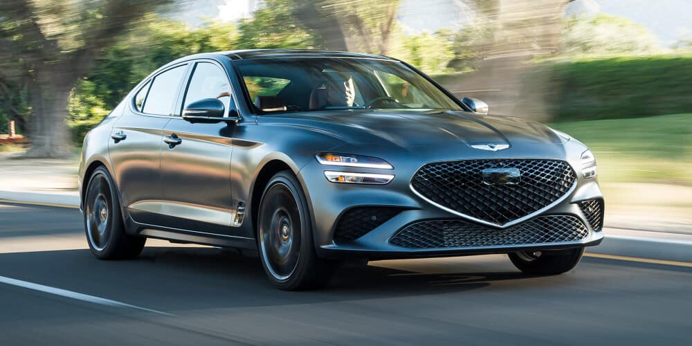 2022 Genesis G70 driving down country road