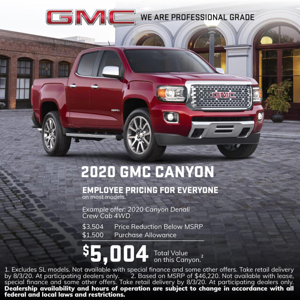 2020 GMC Canyon Special Offer