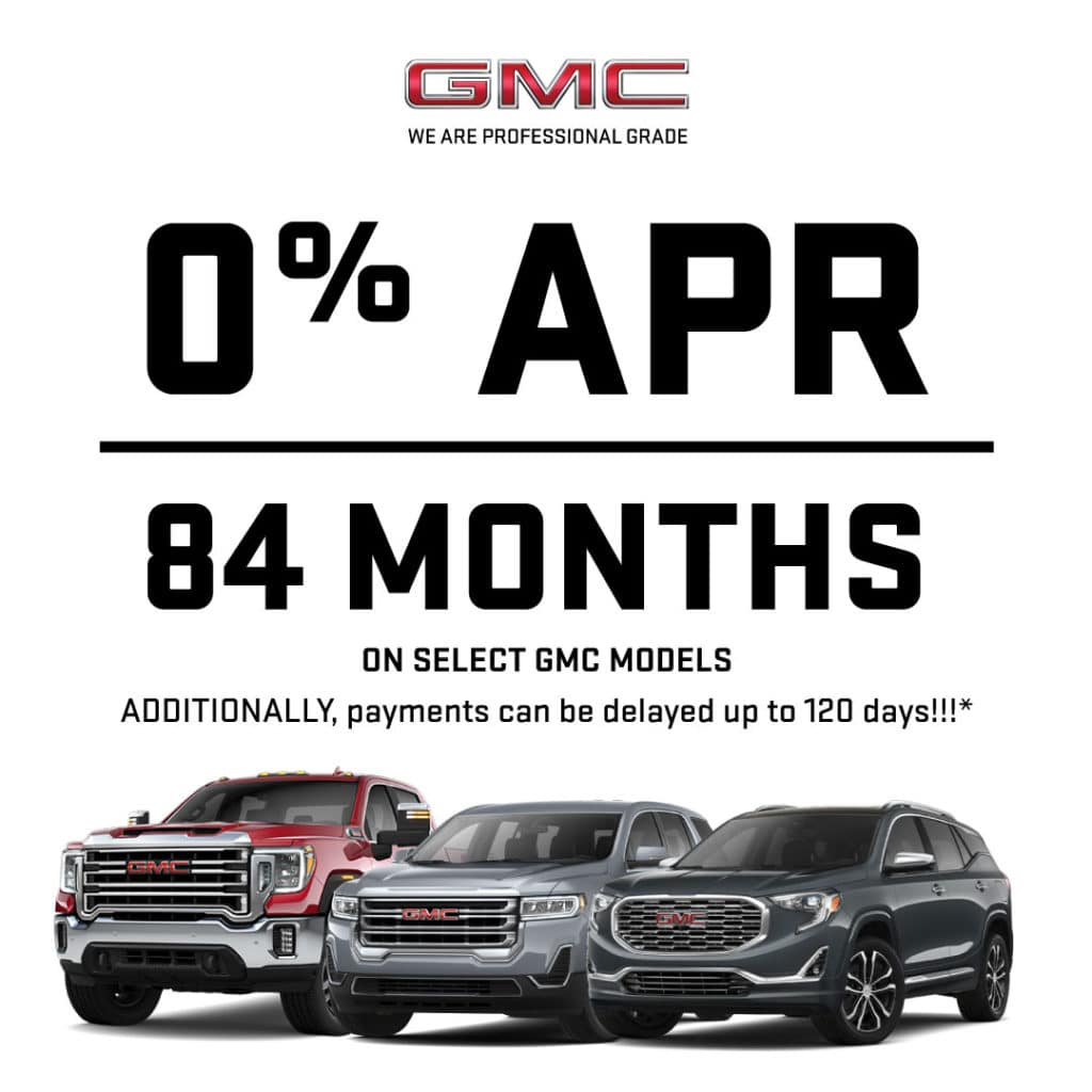 0% APR for 84 Months on select GMC Models