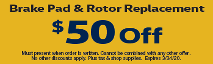 Brake Pad & Rotor Replacement $50 Off