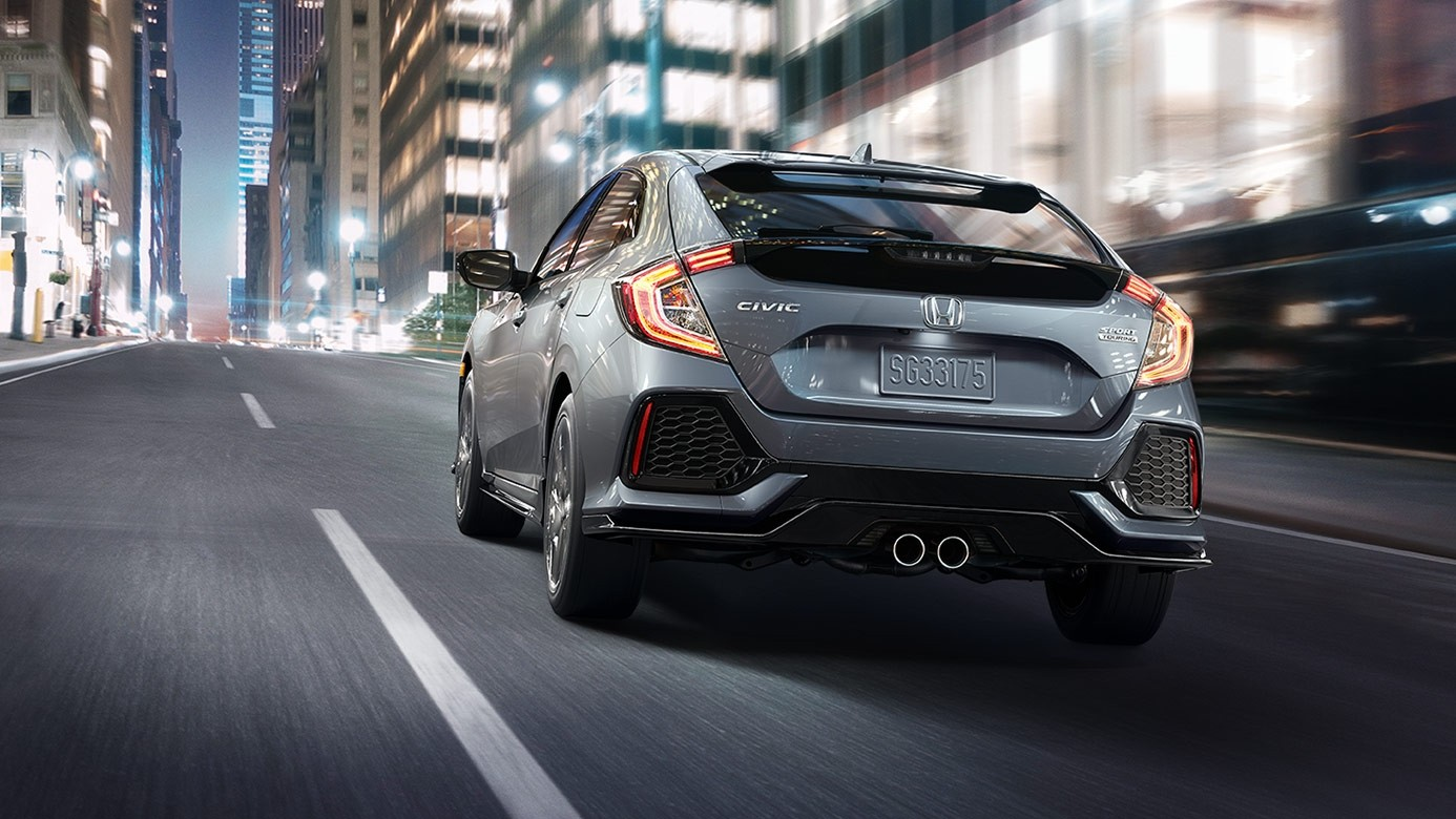 2017 Honda Civic Hatchback Gray Exterior Rear View