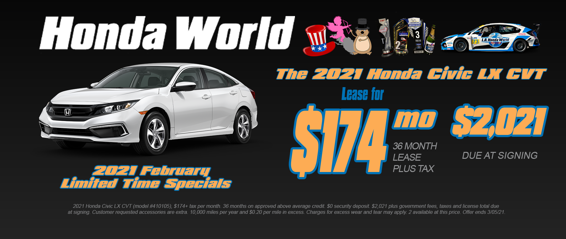 2021 Honda Civic Lease Offer Los Angeles