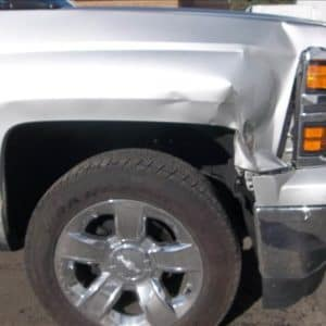 Chevrolet vehicle damaged in accident