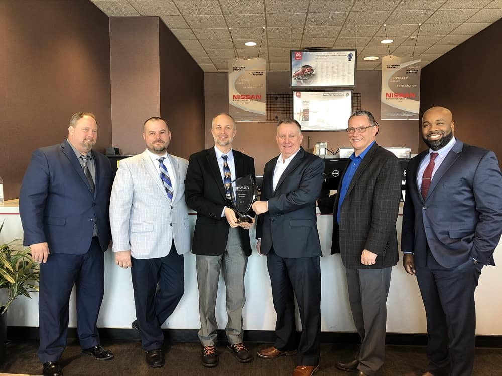 (L to R: Fixed Operations Manager Nissan Northeast Robert Underwood, Hoselton Nissan Lead Sales Manager Don Chaffin, Hoselton President Drew Hoselton, Area General Manager for Nissan Northeast Bob Clark, Hoselton New Car Director Dan McMorrow and Nissan Northeast Region Dealer Operations Manager Seth Jackson)
