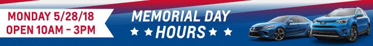 Hoselton Toyota Memorial Day 2018 Hours