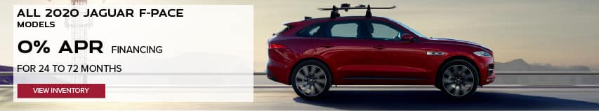 ALL 2020 JAGUAR F-PACE MODELS. BASE MSRP FROM $45,200.FINANCE AT 0% APR FOR 24 TO 72 MONTHS. EXCLUDES TAXES, TITLE, LICENSE AND FEES. ENDS 8/31/2020. VIEW INVENTORY. RED JAGUAR F-PACE DRIVING DOWN ROAD IN DESERT.