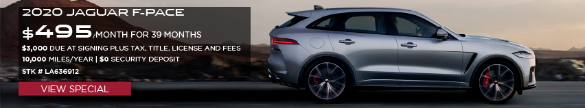 2020 JAGUAR F-PACE. $495 PER MONTH FOR 39 MONTHS. $3,000 DUE AT SIGNING  PLUS TAX, TITLE, LICENSE AND FEES. 10,000 MILER PER YEAR. $0 SECURITY DEPOSIT. STOCK LA636912. VIEW SPECIAL. SILVER JAGUAR F-PACE DRIVING THROUGH THE DESERT.