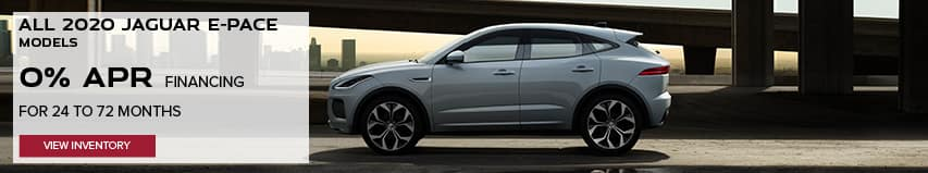 ALL 2020 JAGUAR E-PACE MODELS. BASE MSRP FROM $39,950. FINANCE AT 0% APR FOR 24 TO 72 MONTHS. EXCLUDES TAXES, TITLE, LICENSE AND FEES. ENDS 8/31/2020. VIEW INVENTORY. WHITE JAGUAR E-PACE DRIVING DOWN ROAD IN CITY.