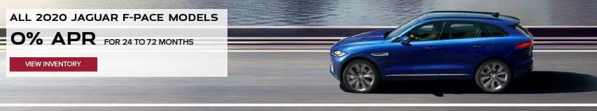 ALL 2020 JAGUAR F-PACE MODELS. BASE MSRP FROM $45,200.FINANCE AT 0% APR FOR 24 TO 72 MONTHS. EXCLUDES TAXES, TITLE, LICENSE AND FEES. ENDS 11/2/2020. VIEW INVENTORY. BLUE JAGUAR F-PACE DRIVING DOWN ROAD NEAR LAKE.