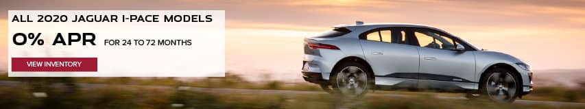 ALL 2020 JAGUAR I-PACE MODELS. BASE MSRP FROM $69,850. FINANCE AT 0% APR FOR 24 TO 72 MONTHS. EXCLUDES TAXES, TITLE, LICENSE AND FEES. ENDS 11/2/2020. VIEW INVENTORY. SILVER JAGUAR I-PACE DRIVING DOWN ROAD AT SUNSET.