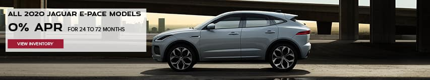ALL 2020 JAGUAR E-PACE MODELS. BASE MSRP FROM $39.950.FINANCE AT 0% APR FOR 24 TO 72 MONTHS. EXCLUDES TAXES, TITLE, LICENSE AND FEES. ENDS 11/2/2020. VIEW INVENTORY. WHITE JAGUAR E-PACE DRIVING DOWN ROAD IN CITY.