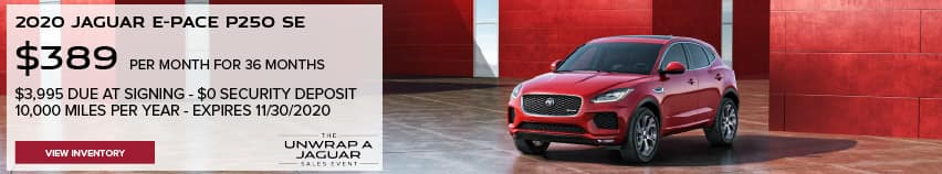 2020 JAGUAR E-PACE P250 SE. $389 PER MONTH. 36 MONTH LEASE TERM. $3,995 CASH DUE AT SIGNING. $0 SECURITY DEPOSIT. 10,000 MILES PER YEAR. EXCLUDES RETAILER FEES, TAXES, TITLE AND REGISTRATION FEES, PROCESSING FEE AND ANY EMISSION TESTING CHARGE. OFFER ENDS 11/30/2020. VIEW INVENTORY.RED JAGUAR E-PACE PARKED IN FRONT OF HOLIDAY PACKAGES.
