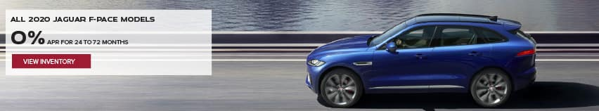 ALL 2020 JAGUAR F-PACE MODELS. BASE MSRP FROM $45,200.FINANCE AT 0% APR FOR 24 TO 72 MONTHS. EXCLUDES TAXES, TITLE, LICENSE AND FEES. ENDS 2/1/2021. VIEW INVENTORY. BLUE JAGUAR F-PACE DRIVING DOWN ROAD NEAR LAKE.