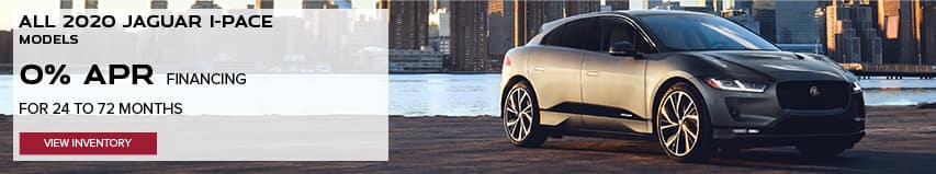 ALL 2020 JAGUAR I-PACE MODELS. BASE MSRP FROM $69,850. FINANCE AT 0% APR FOR 24 TO 72 MONTHS. EXCLUDES TAXES, TITLE, LICENSE AND FEES. ENDS 8/31/2020. VIEW INVENTORY. SILVER JAGUAR I-PACE PARKED OUTSIDE OF CITY.