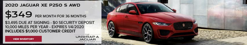 2020 JAGUAR XE P250 S AWD. $349 PER MONTH. 36 MONTH LEASE TERM. $3,495 CASH DUE AT SIGNING. $0 SECURITY DEPOSIT. 10,000 MILES PER YEAR. EXCLUDES RETAILER FEES, TAXES, TITLE AND REGISTRATION FEES, PROCESSING FEE AND ANY EMISSION TESTING CHARGE. INCLUDES $1,000 CUSTOMER CREDIT. OFFER ENDS 1/4/2021.VIEW INVENTORY. RED JAGUAR XE DRIVING DOWN COBBLESTONE ROAD.