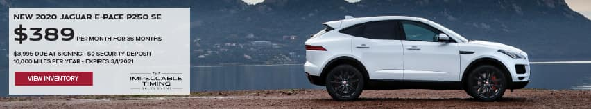 NEW 2020 JAGUAR E-PACE P250 SE. $389 PER MONTH. 36 MONTH LEASE TERM. $3,995 CASH DUE AT SIGNING. $0 SECURITY DEPOSIT. 10,000 MILES PER YEAR. EXCLUDES RETAILER FEES, TAXES, TITLE AND REGISTRATION FEES, PROCESSING FEE AND ANY EMISSION TESTING CHARGE. OFFER ENDS 3/1/2021. VIEW INVENTORY. WHITE JAGUAR E-PACE PARKED NEAR LAKE.