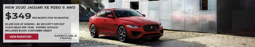 NEW 2020 JAGUAR XE P250 S AWD. $349 PER MONTH. 36 MONTH LEASE TERM. $3,495 CASH DUE AT SIGNING. $0 SECURITY DEPOSIT. 10,000 MILES PER YEAR. EXCLUDES RETAILER FEES, TAXES, TITLE AND REGISTRATION FEES, PROCESSING FEE AND ANY EMISSION TESTING CHARGE. INCLUDES $1,000 CUSTOMER CREDIT. OFFER ENDS 3/31/2021. VIEW INVENTORY. RED JAGUAR XE DRIIVNG DOWN COBBLESTONE ROAD.