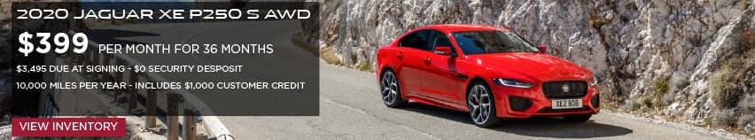 2020 JAGUAR XE P250 S AWD. $399 PER MONTH. 36 MONTH LEASE TERM. $3,495 CASH DUE AT SIGNING. INCLUDES $1,000 CUSTOMER CREDIT. $0 SECURITY DEPOSIT. 10,000 MILES PER YEAR. OFFER ENDS 3/2/2020. VIEW INVENTORY. RED JAGUAR XE DRIVING THROUGH MOUNTAIN RANGE.