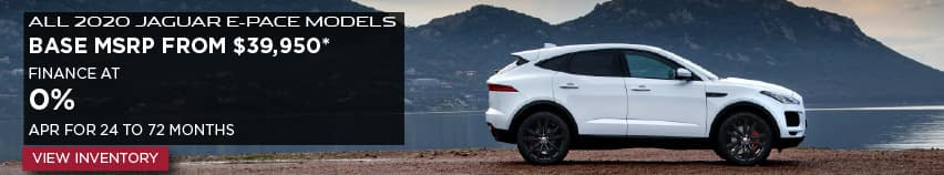 ALL 2020 JAGUAR E-PACE MODELS. BASE MSRP FROM $39,950. FINANCE AT 0% APR FOR 24 TO 60 MONTHS. ENDS 6/30/2020. VIEW INVENTORY. WHITE JAGUAR E-PACE PARKED ON ROAD NEAR LAKE.