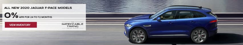 ALL 2020 JAGUAR F-PACE MODELS. BASE MSRP FROM $45,200. FINANCE AT 0% APR FOR 24 TO 72 MONTHS. EXCLUDES TAXES, TITLE, LICENSE AND FEES. ENDS 3/1/2021. VIEW INVENTORY. BLUE JAGUAR F-PACE DRIVING DOWN ROAD BY LAKE.
