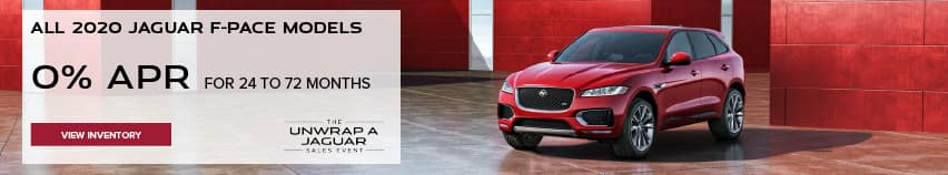 ALL 2020 JAGUAR F-PACE MODELS. BASE MSRP FROM $45,200.FINANCE AT 0% APR FOR 24 TO 72 MONTHS. EXCLUDES TAXES, TITLE, LICENSE AND FEES. ENDS 11/30/2020. VIEW INVENTORY. RED JAGUAR F-PACE PARKED IN FRONT OF HOLIDAY PACKAGES.