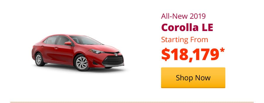 New 2019 Corolla LE Starting from $18,179