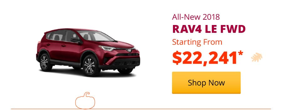 New 2018 RAV4 LE FWD Starting from $22,241