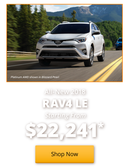 New 2018 RAV4 LE starting from $22,241