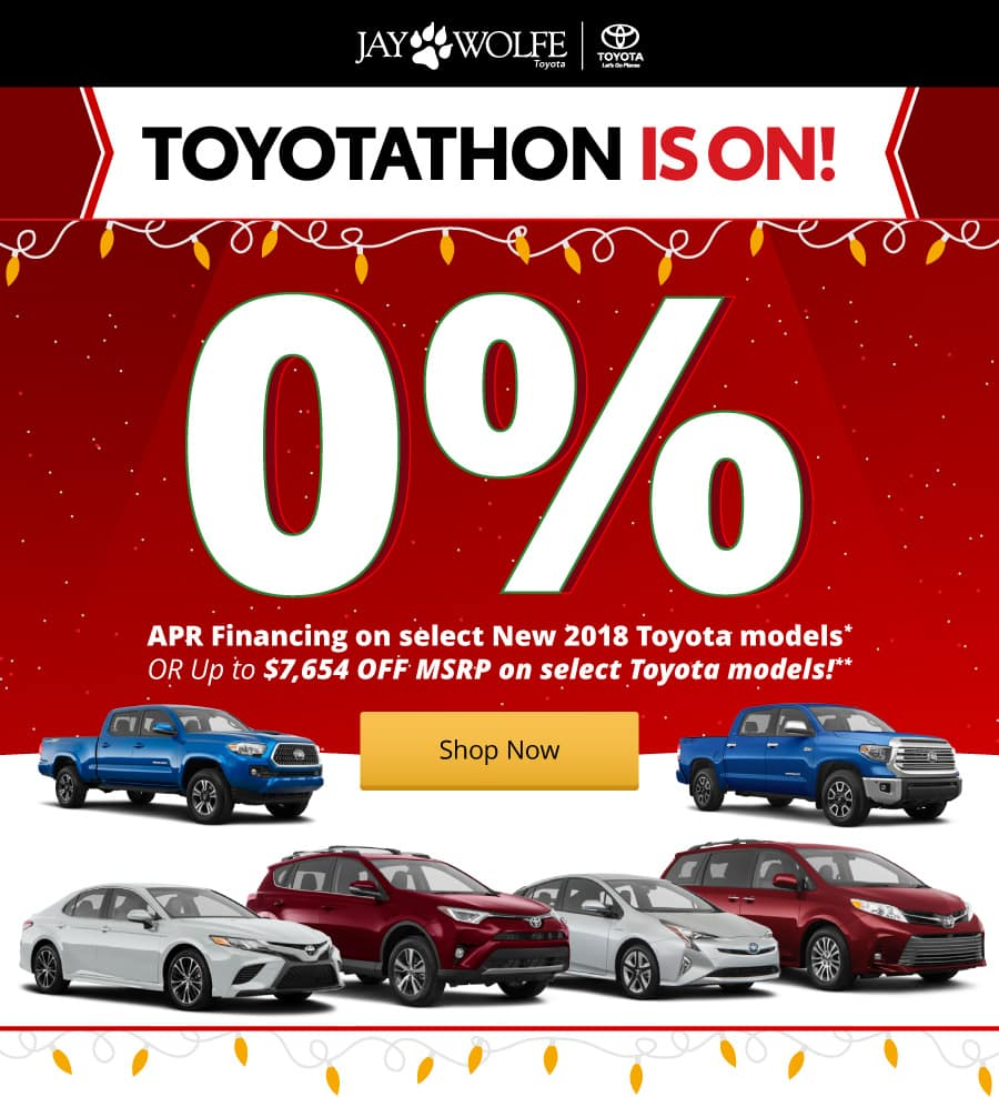 0% APR Financing on select new 2018 Toyota models!