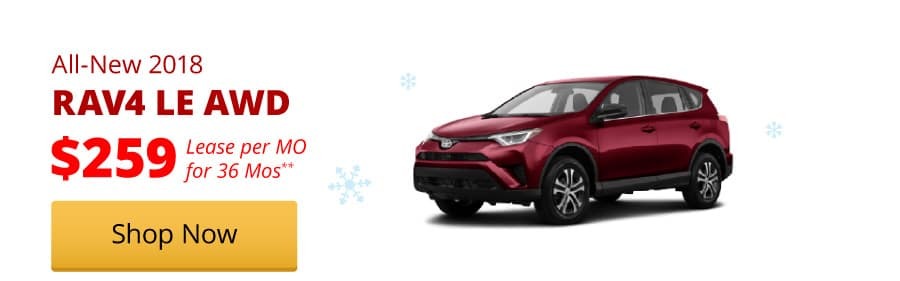 All-New 2018 RAV4 LE AWD lease for $259/MO