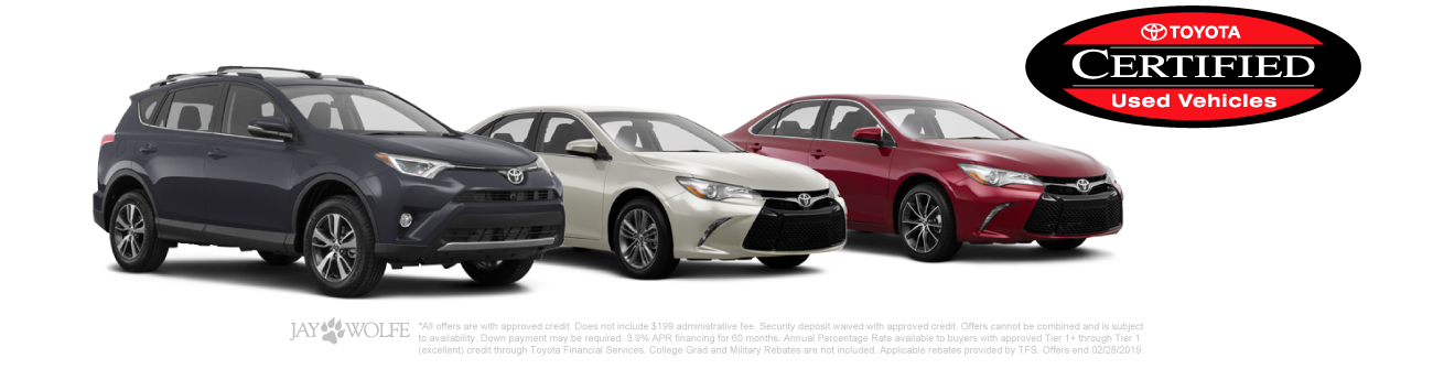 3.9% APR Financing on Certified Pre-Owned Camrys and RAV4s