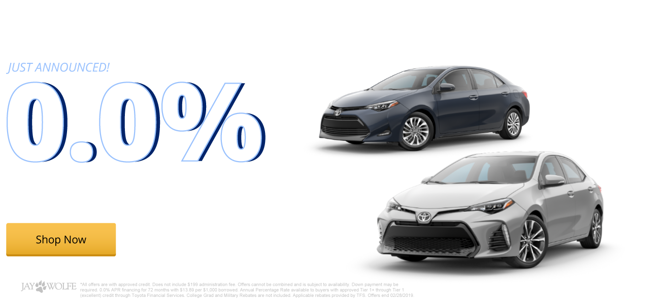 0.0% APR financing for 72 months on New 2019 Corollas
