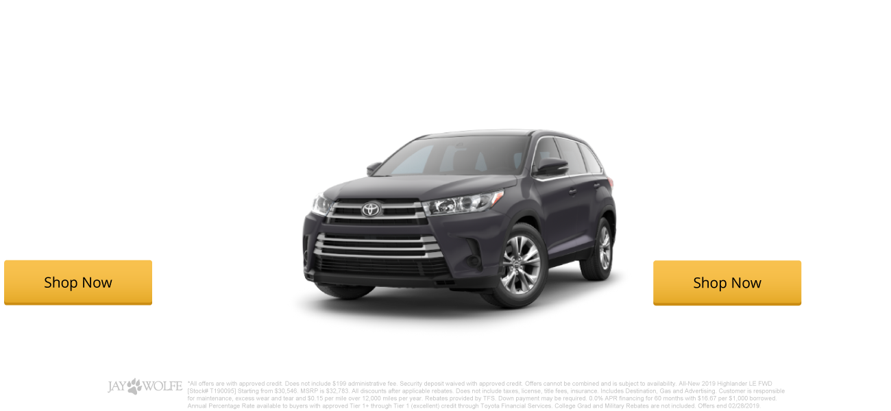 0.0% APR Financing for 60 months on New 2019 Highlanders