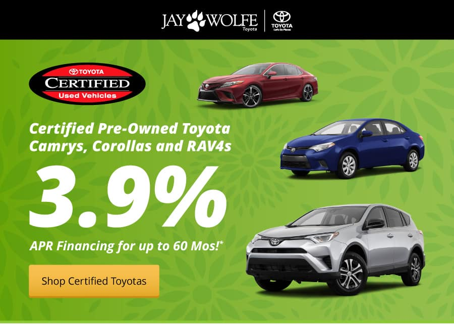 3.9% APR on Certified Pre-Owned Camrys, Corollas and RAV4s