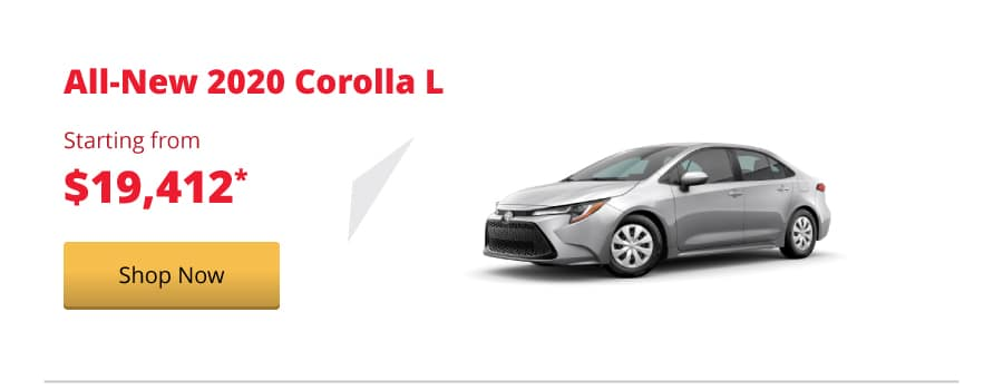 All-New 2020 Corolla L starting from $19,412