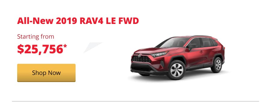 All-New 2019 RAV4 LE FWD starting from $25,756