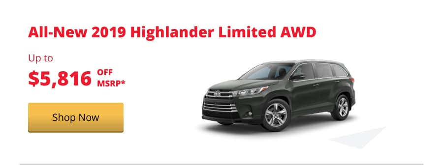 All-New 2019 Highlander Limited AWD up to $5,816 off MSRP