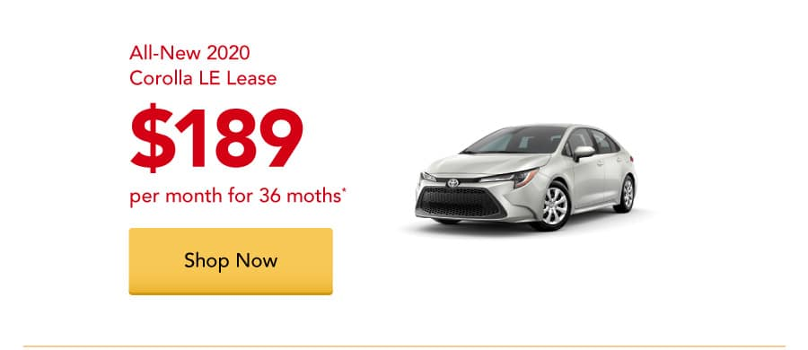 All-New 2020 Corolla LE lease for $189 per month for 36 months.